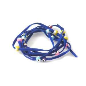Royal Blue Suede Kabbalah String Bracelet with Lucky Eyes Jewelry