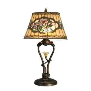 TT90312 Tiffany Table Lamp, LED, Antique Bronze and Art Glass Shade