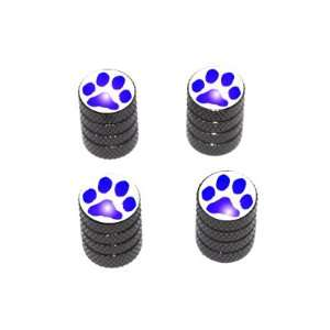 Paw Print Blue   Tire Rim Valve Stem Caps   Black Automotive