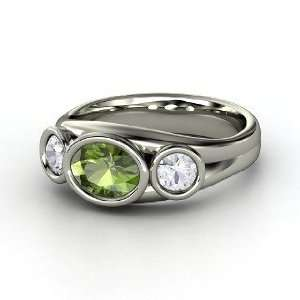 Alexa Oval Ring, Oval Green Tourmaline 14K White Gold Ring