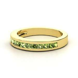 Cortney Band, 14K Yellow Gold Ring with Green Tourmaline Jewelry
