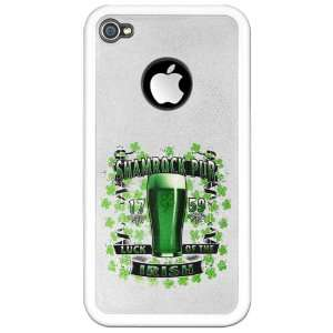 iPhone 4 or 4S Clear Case White Shamrock Pub Luck of the Irish 1759 St