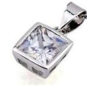 18 Karat White Gold Plated Square Pendant and Chain