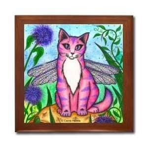 Dea Dragonfly Fairy Cat Ceramic Wood Tile Box CHX22BX By