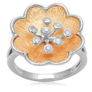 18k Yellow Gold Plated Sterling Silver Flower with Diamond Accent Ring