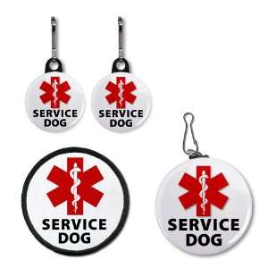 RED SERVICE DOG ALERT Medical Alert Patch Tag Zipper Pull