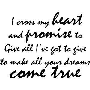 Promise to Give All Ive Got to Give Vinyl Wall Decal