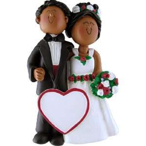 Wedding Couple African American Male and Female Christmas Ornament
