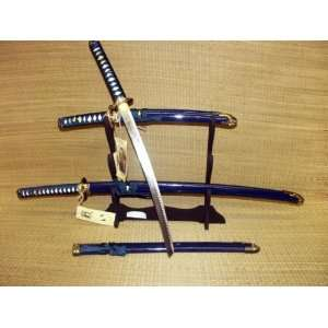 Japanese Bushido Bamboo Last Samurai Sword Set (Blue