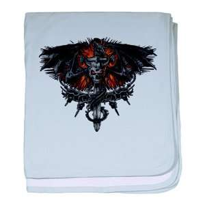 Baby Blanket Sky Blue Dragon Sword with Skulls and Chains