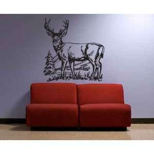 Deer Pine Tree Mountain Vinyl Wall Decal Sticker Graphic