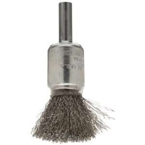 Weiler Wire End Brush, Coated Cup, Round Shank, Stainless Steel 302