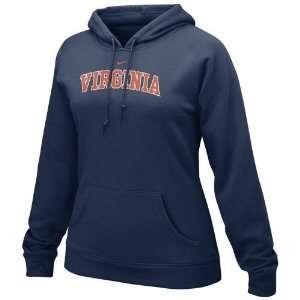 Nike Virginia Cavaliers Ladies Navy Blue Arch Lettering Fleece Hoody