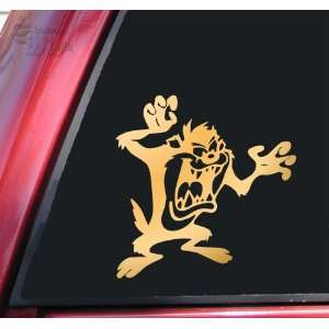 Taz Tasmanian Devil Vinyl Decal Sticker   Mirror Gold Automotive