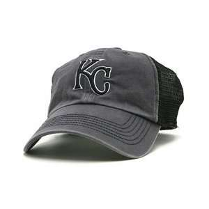 Kansas City Royals Foghorn Mesh Stretch Cap   Charcoal/Black FLEX FIT