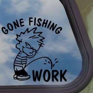 Funny Gone Fishing Black Decal Car Truck Window Sticker