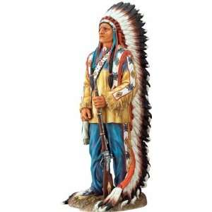 Indian Chief Standing Proud   Collectible Figurine Statue