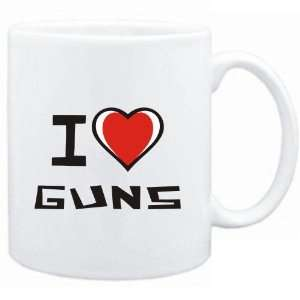Mug White I love Guns  Hobbies Sports & Outdoors