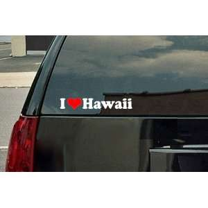 Love Hawaii Vinyl Decal   White with a red heart