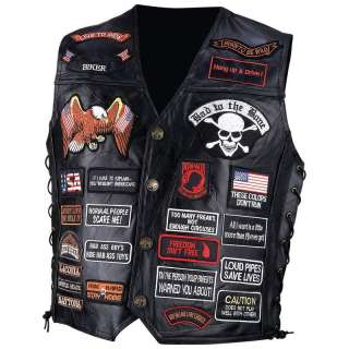 BUFFALO LEATHER MOTORCYCLE VEST 42 Biker Patches M 3XL