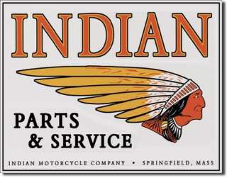 INDIAN MOTORCYCLE Parts And Service Retro Tin Sign