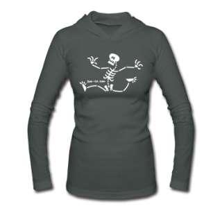 Skeleton Running Away Long Sleeve Shirts  Juniors Long Sleeve Hooded