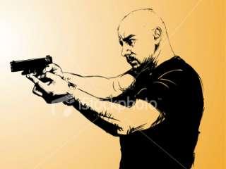 Man aiming with gun Royalty Free Stock Vector Art Illustration