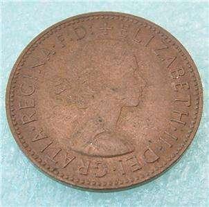 1964 U.K. GREAT BRITAIN 1/2 PENNY HALF Cent copper COIN