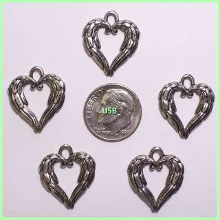 ANGEL WING HEART ~Antique Pewter Charms #215 2