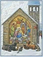 Embossed Christmas Cards Animals look Church Window Luke 214