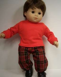 PLAID Pants RED T Shirt Doll Clothes For Bitty Baby♥