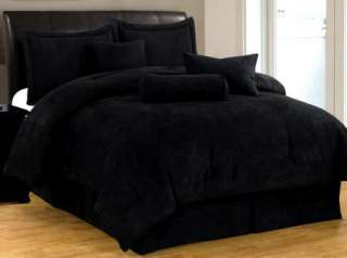 New Bed In a Bag Solid Black Suede Comforter set   Twin Full Queen