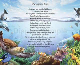 Personalized Poem For Nephew Birthday Or Christmas Gift Under The Sea
