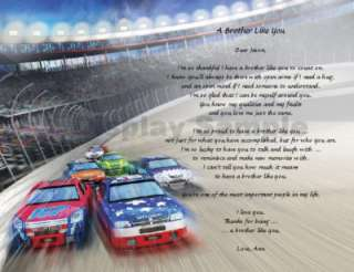Personalized Poem for Brother Christmas Gift Stock Car Racing Race