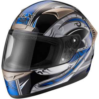 GLX DOT Tribal Full Face Motorcycle Helmet, Blue, XXL