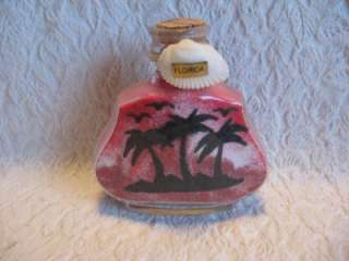 Florida Souvenir Red Sand Art Bottle Palm Trees Birds