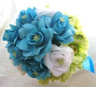 Wedding Bouquet Silk Bridal flower TURQUOISE YELLOW DAISY 10pc