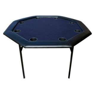 Commerce 48 Octagon Poker Table with Folding Legs in Blue Game Room
