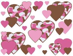 PINK BROWN CAMO HEART BABY NURSERY WALL STICKERS DECALS