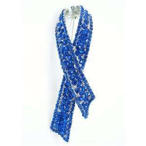 BREAST CANCER RIBBON Pin Brooch Blue Swarovski Crystal