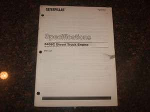 CAT CATERPILLAR 3406C DIESEL TRUCK ENGINE SPECIFICATIONS MANUAL S/N