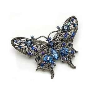 Blue Austrian Rhinestone Butterfly Silver Tone Brooch Pin Jewelry