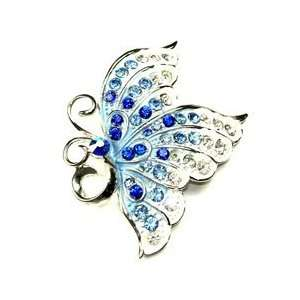 Clear Austrian Rhinestone Butterfly Silver Tone Brooch Pin Jewelry