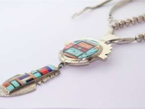 Yellowhorse Navajo Sterling Turquoise Coral Necklace