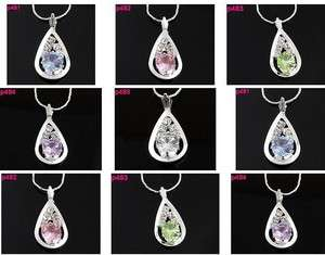 shinning Crystal drop Charm pendant necklace p481 485