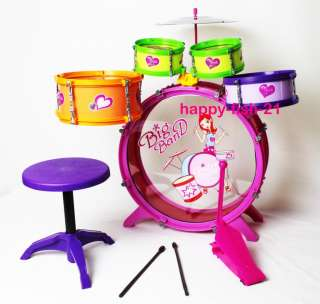 My First Toy Kid Drum Set Instrument Musical Big Band Play Set PINK