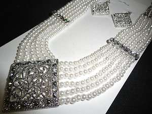 ELEGANT MULTI STRAND PEARL CRYSTAL NECKLACE EARRINGS SET BRIDAL