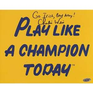 Charlie Weis Autographed Go Irish, Beat Army! Play Like A Champion