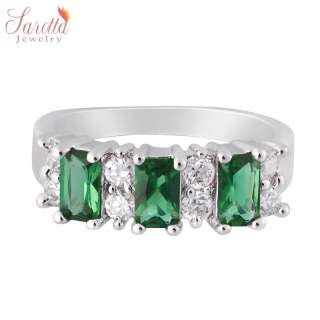 Gift Emerald Cut Green Emerald Gold Plated Fashion Jewelry Lady Ring 6