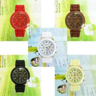 Unisex Geneva Silicone Jelly Gel Quartz Analog Sports Wrist Watch 5